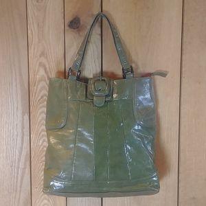EUC Mondani Green Color Block Shoulder Tote Bag